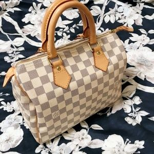 Made in France LOUIS VUITTON Speedy 25 Damier Azur